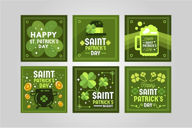 Green instagram post collection for st. patrick's day Free Vector