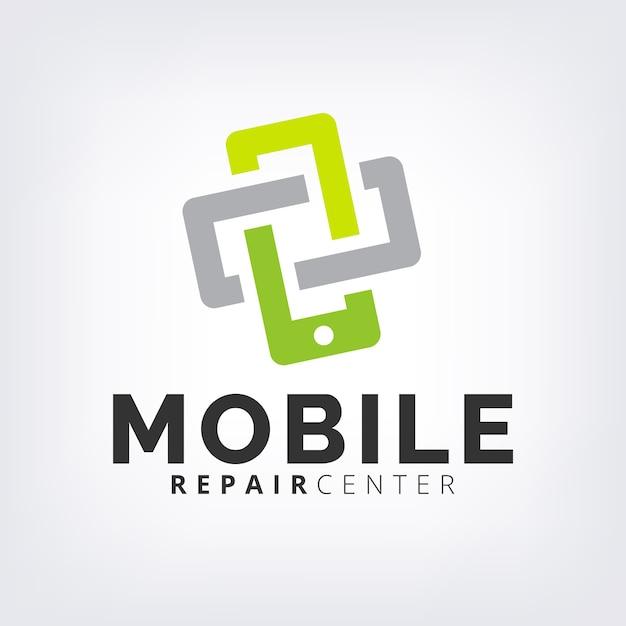 Green interlock mobile phone fix & repair logo icon template Premium Vector