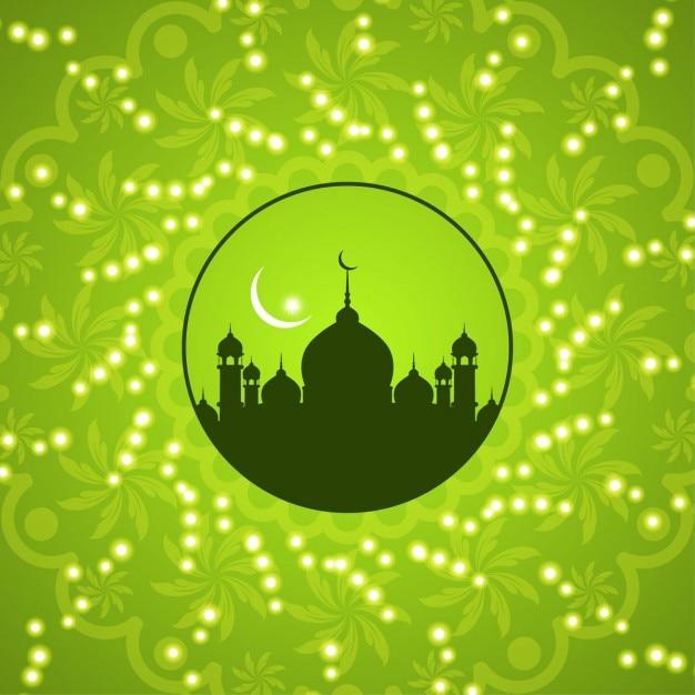 Desain latar belakang islami hijau Vektor Gratis