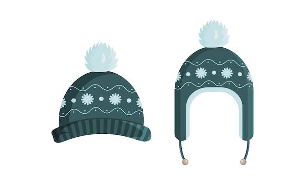 ヴィンテージ柄のイラストと緑のニット帽 Premiumベクター