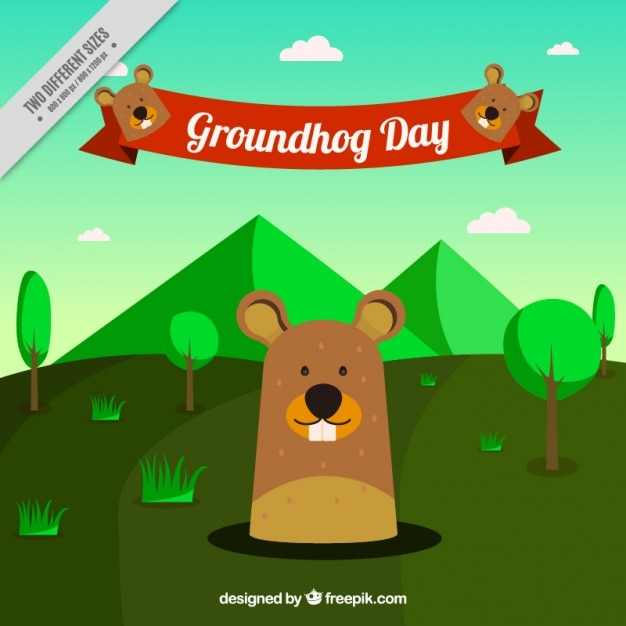 Green landscape background with\ groundhog