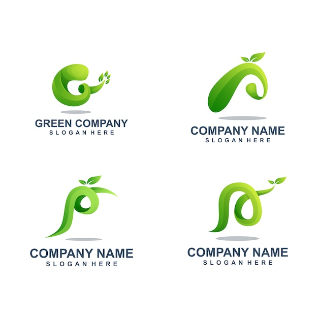 Green leaf logo template set Premium Vector