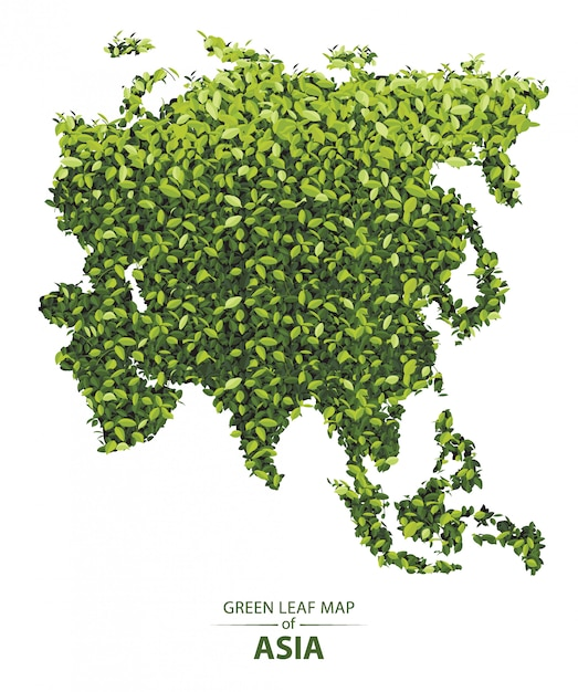 Green leaf map of asia Premium Vector