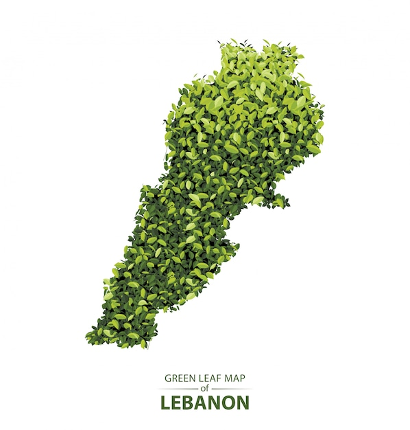 Green leaf map of lebanon Premium Vector