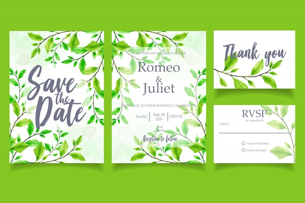 Green leaf watercolor invitation wedding party card floral template Premium Vector