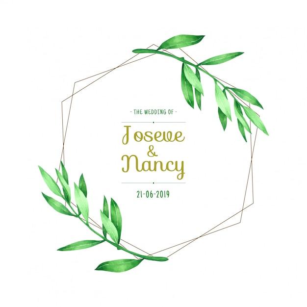 Green leaf wreath hand drawn wedding card template Premium Vector