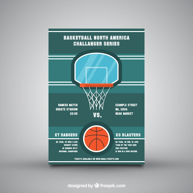Green leaflet with basketball basket Vector – Basketball Flyer Example