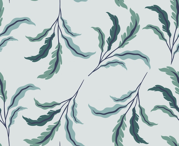 Green leafs natural pattern background Free Vector