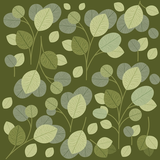 Green leafs pattern background Premium Vector