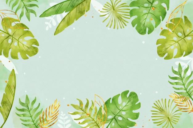 황금 호 일 녹색 잎 배경 무료 벡터