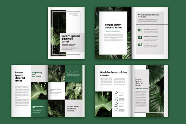 Green leaves brochure template layout Free Vector