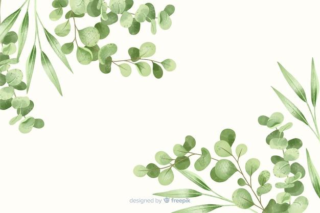 緑の葉のフレームの抽象的な背景 無料ベクター