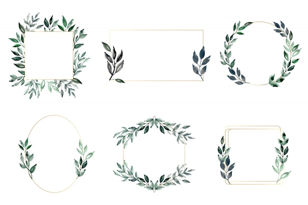 Green leaves and golden frame with watercolor Premium Vector