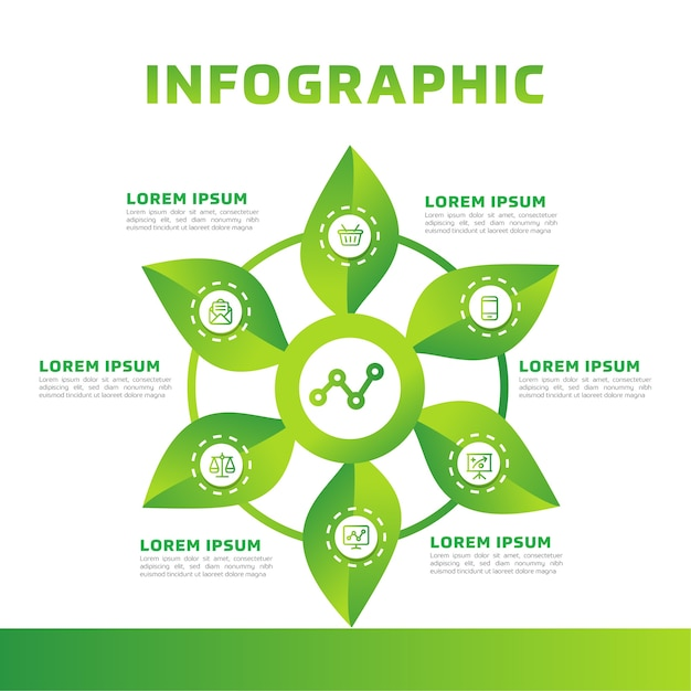 Green leaves infographic. green business diagram, and template. Premium Vector