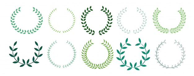 Green leaves laurel wreath collection Free Vector
