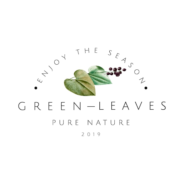 Green leaves logo design vector Free Vector