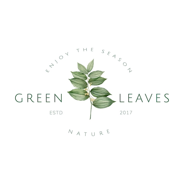 Green leaves logo design vector Free Vector