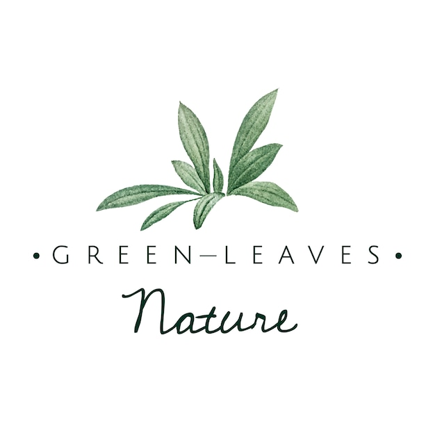 Green leaves nature logo vector Free Vector