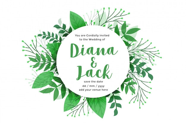 Green leaves nature style wedding card design Free Vector