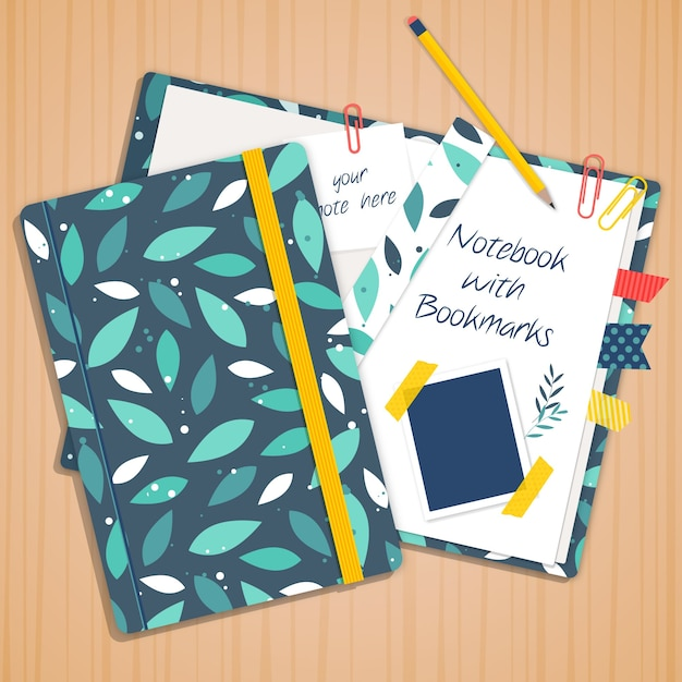 Green leaves notebook Free Vector