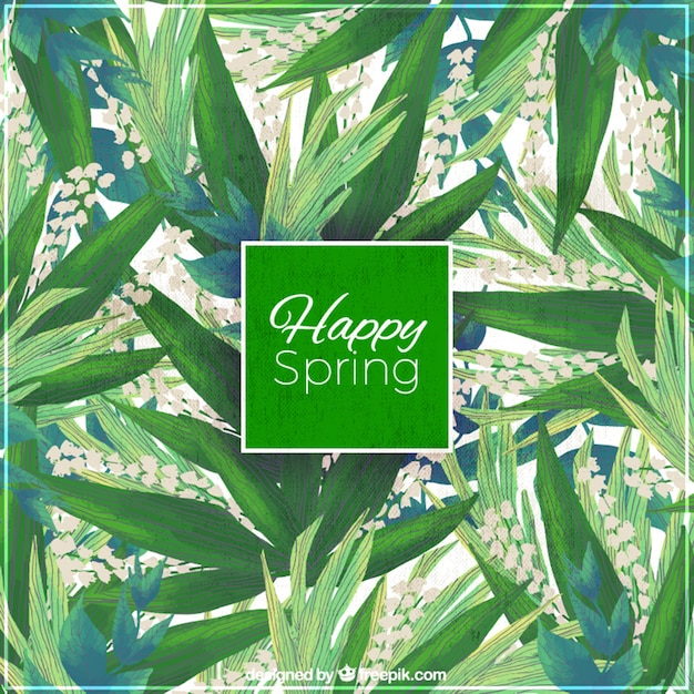 Green leaves of watercolor and flowers\ background