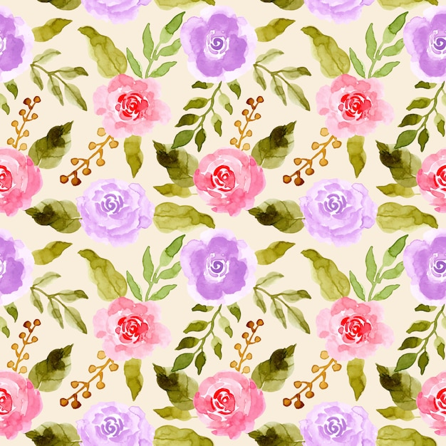 Green leaves pink purple flower watercolor pattern Premium Vector