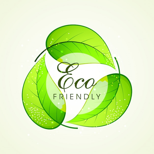 Green Leaves In Recycle Symbol Shape For Eco Friendly