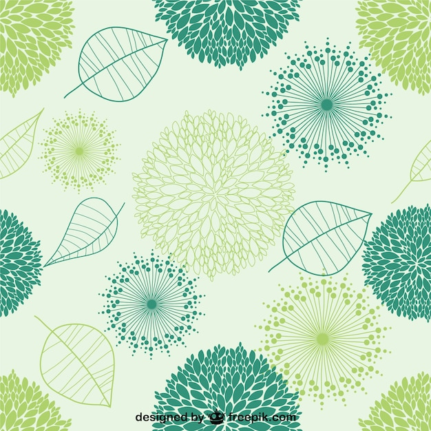 Green leaves seamless pattern Free Vector