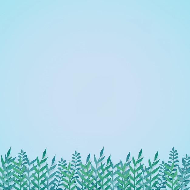 Green leaves template in paper cut concept. Premium Vector