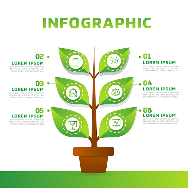 Green leaves and tree infographic. green business diagram, and template. Premium Vector