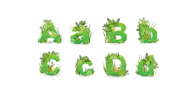 Green leaves vector alphabet. stylish abc with colorful tropical leaves, bushes, flowers and nature elements Premium Vector