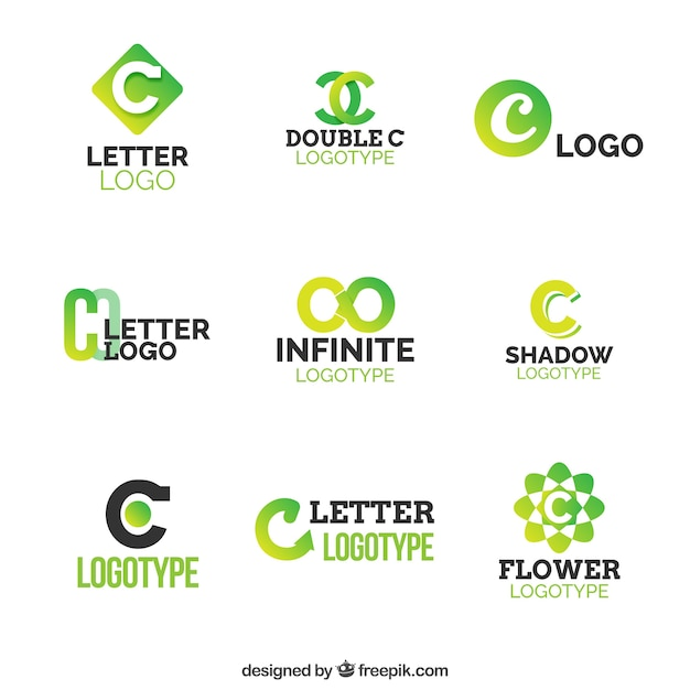 green letter c logo colection vector free download