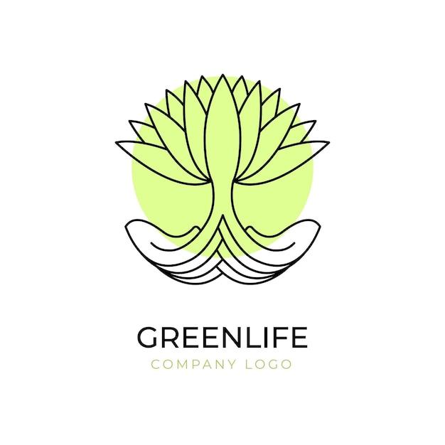 Modello di simbolo di logo albero di vita verde Vettore gratuito