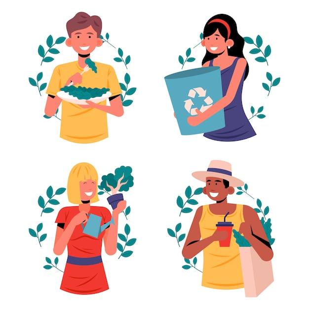Green lifestyle people concept Free Vector