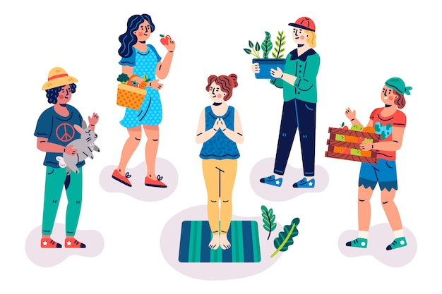 Green lifestyle people illustrated concept Free Vector