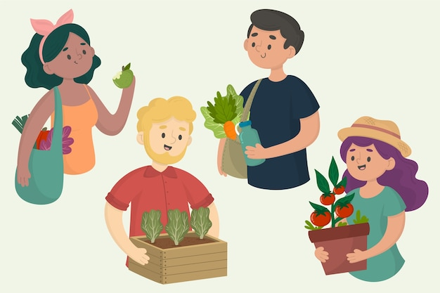 Green lifestyle people illustration Free Vector