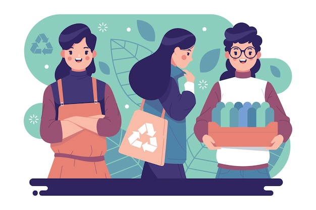 Green lifestyle people Free Vector