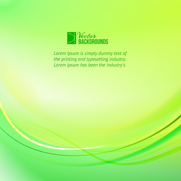 Green light lines background with sample text template Free Vector