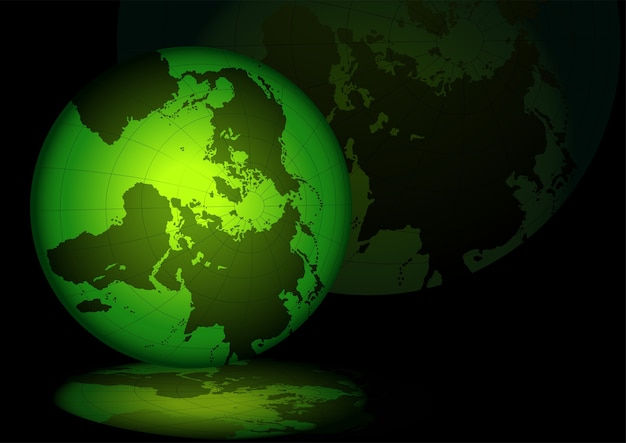 Green lightning grid globe with reflections Premium Vector