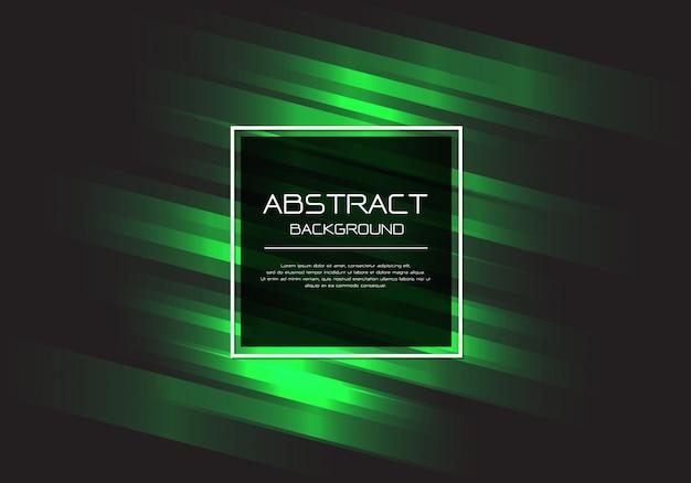Green line speed black square frame background. Premium Vector