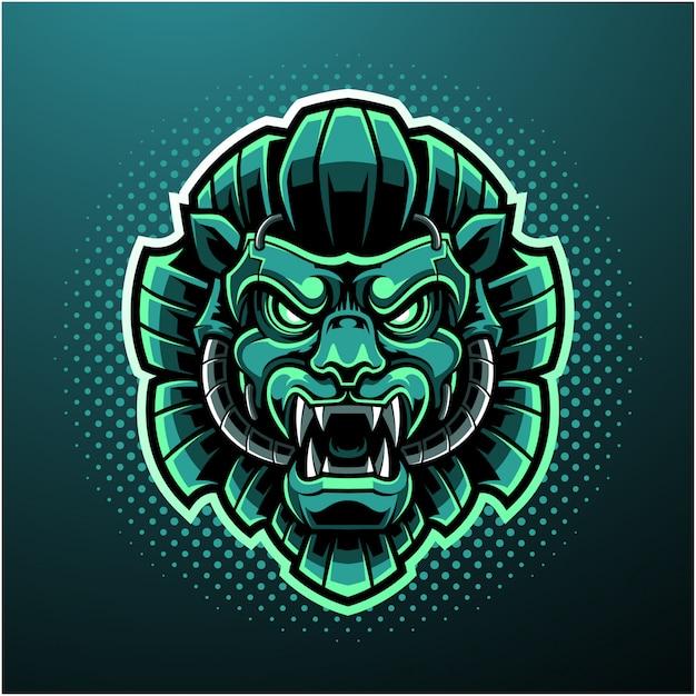 Green lion head mascot logo Premium Vector