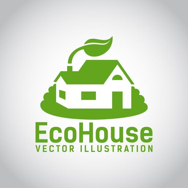 Logo verde di una casa ecologica o di una casa ecologica circondata da erba e con una foglia sopra il tetto, struttura a basso impatto ambientale ed ecologica Vettore gratuito