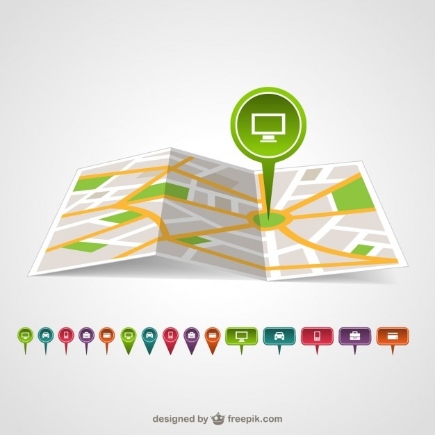Green map pin in a map Free Vector