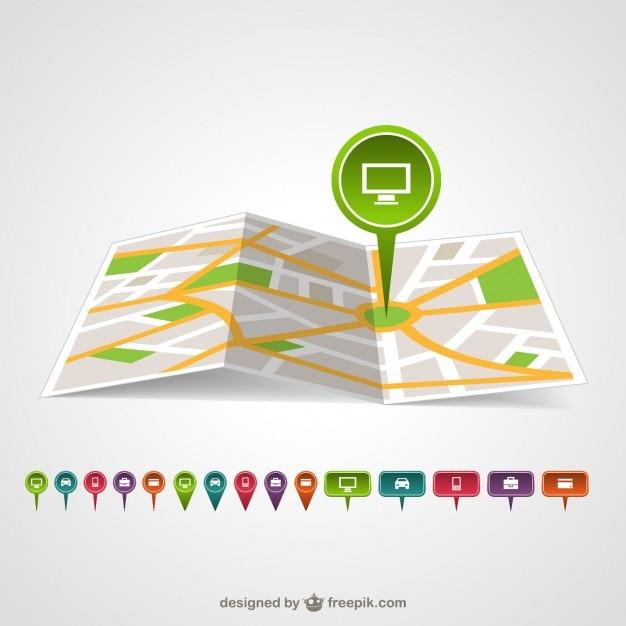 پین نقشه سبز در یک نقشه