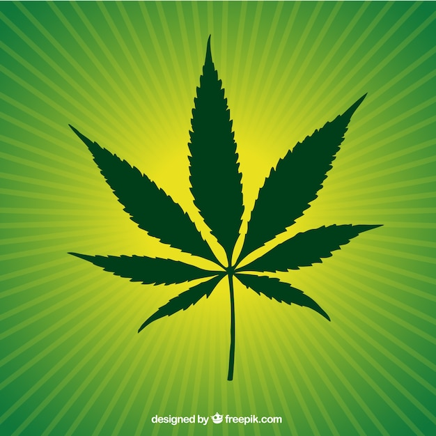 Green marijuana leaf Free Vector
