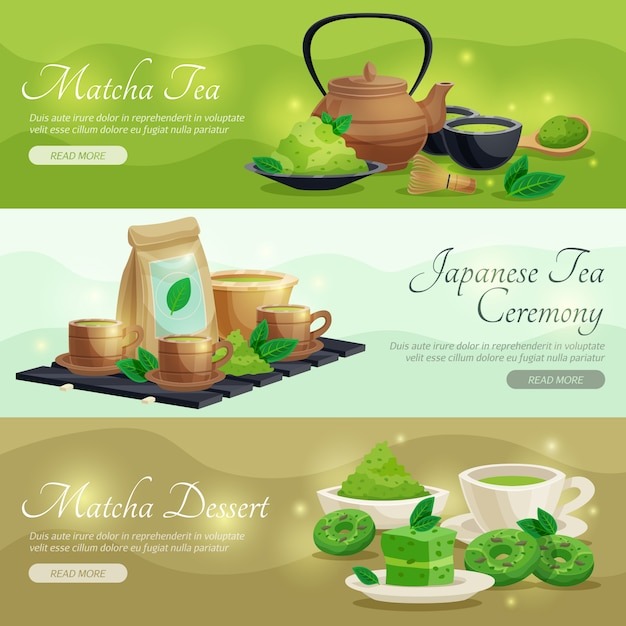 Green matcha tea horizontal banners Free Vector
