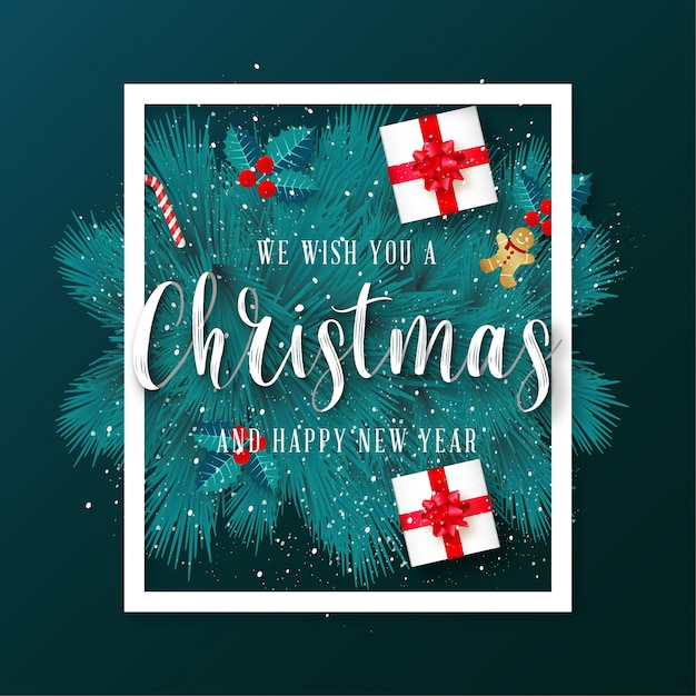 Green merry christmas greeting card with frame Free Vector