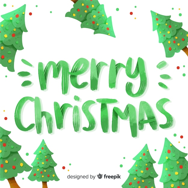 Green merry christmas lettering Free Vector