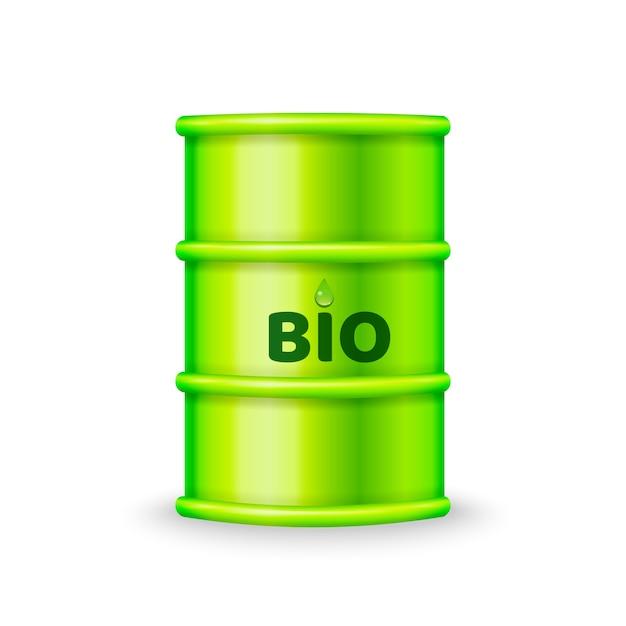 Green metal barrel with bio fuel Premium Vector