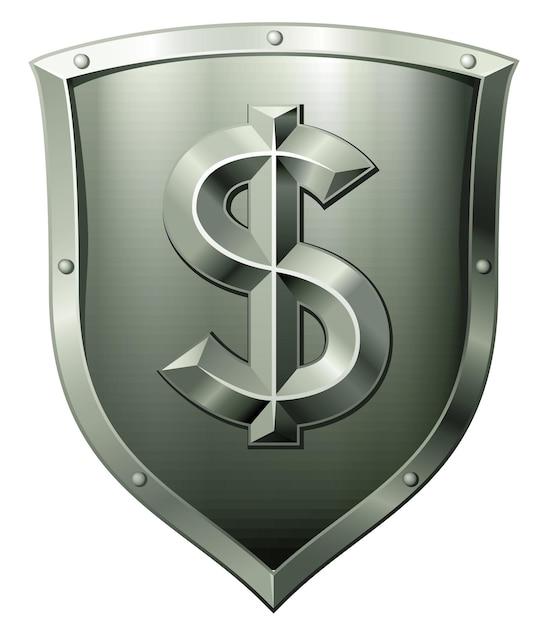 Зеленый металлический щит со знаком доллара, изолированным на белом Premium векторы